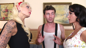 "James Deen (middle) in his tour de force performance as Dennis Cordeluzzo in ""My Husband Brought Home His Mistress 6"""